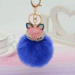Handbags - RHINESTONE FOX Pom Pom key ring PURSE keychain